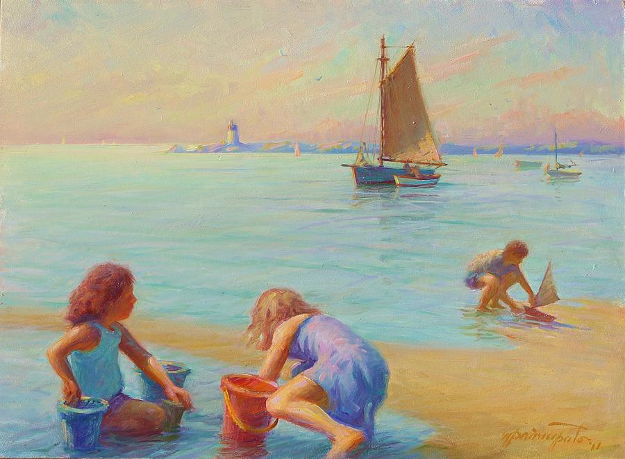 Coastal Painting -  Provincetown Harbor Morning by Ernest Principato