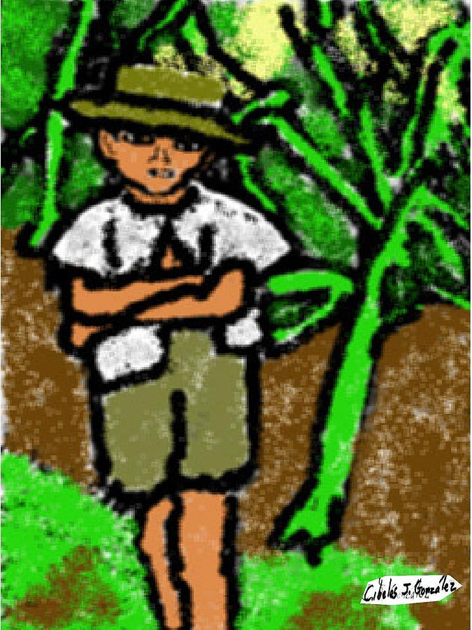 Puerto Rican Boy In Sugarcane Field Painting  -  Puerto Rican Boy In Sugarcane Field Fine Art Print