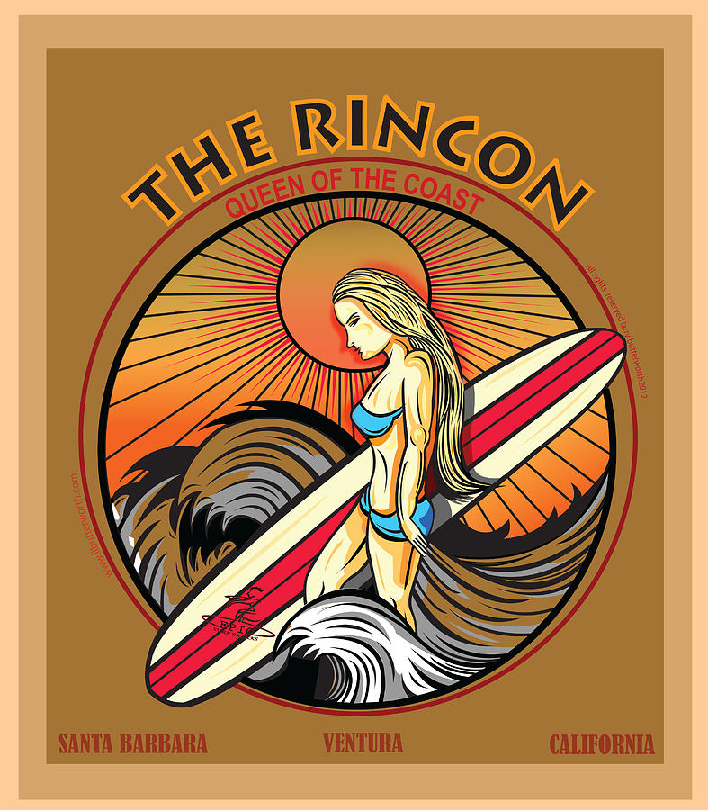 Rincon Ventura California Surfing Digital Art  -  Rincon Ventura California Surfing Fine Art Print