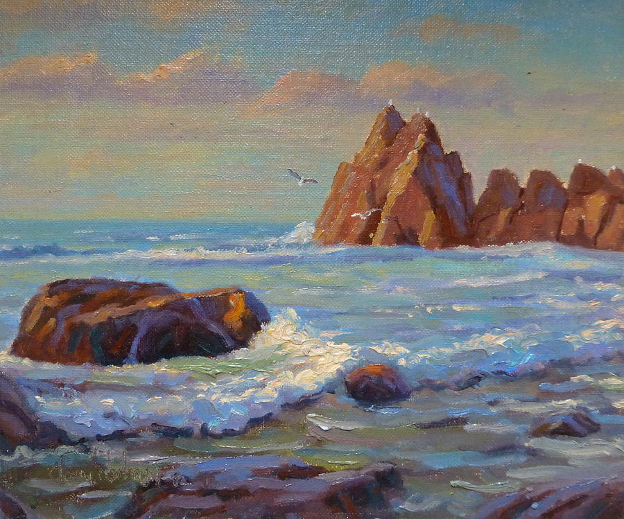 Sea Painting -  Rocks West Coast by Terry Perham