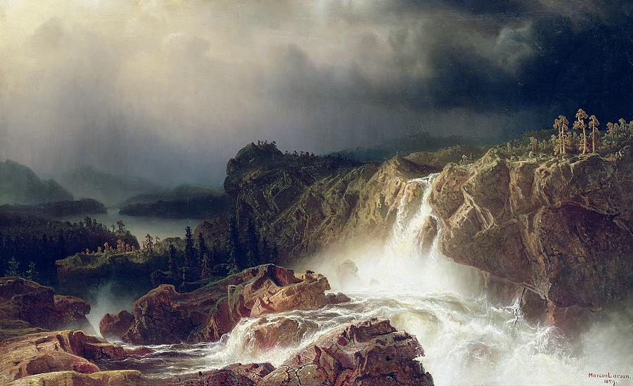 Storm; Spray; Scandinavia; Scandinavian; Romantic Painting -  Rocky Landscape With Waterfall In Smaland by Marcus Larson