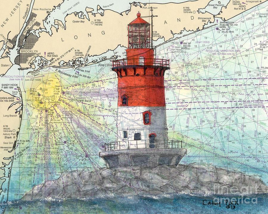 Romer Shoal Lighthouse Nj Nautical Chart Art Peek Painting by Cathy Peek
