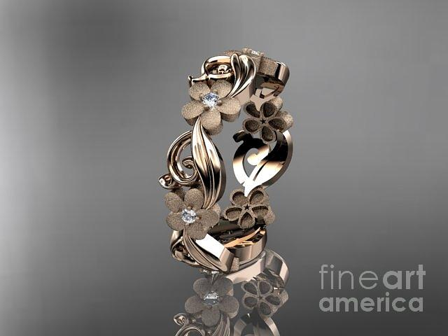 Gold Diamond Flower Wedding Ring Engagement Ring Wedding Band Adlr191