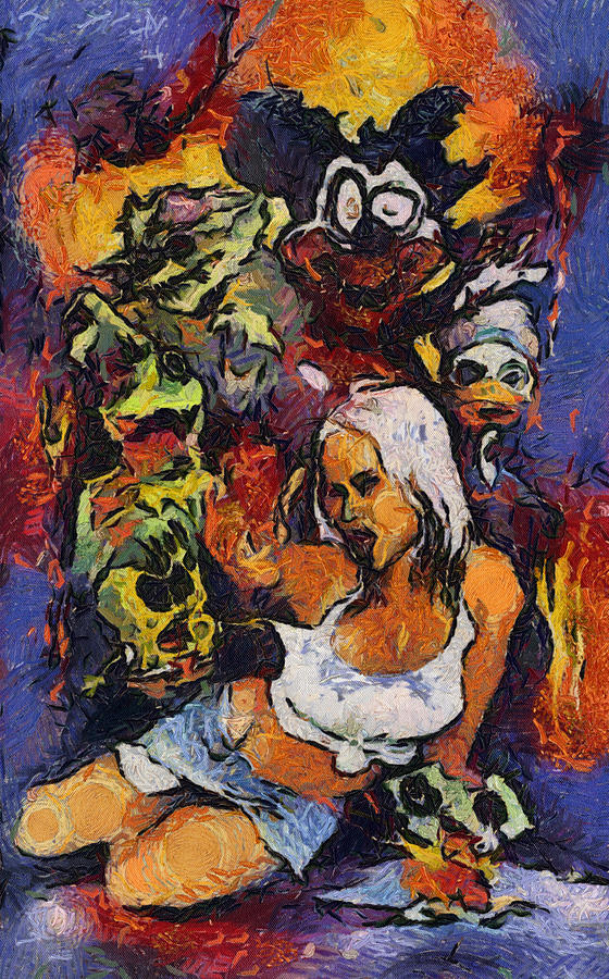 Sexy Pinup Zombie Painting Painting