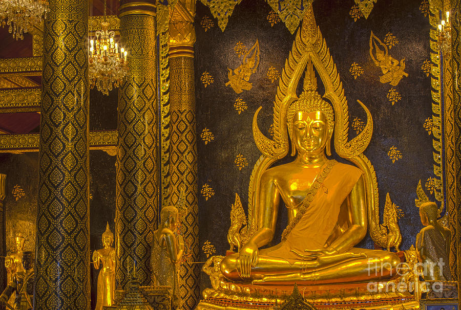 Ancient Photograph -  The Main Hall Of Wat Thardtong With Golden Buddha Statue by Anek Suwannaphoom