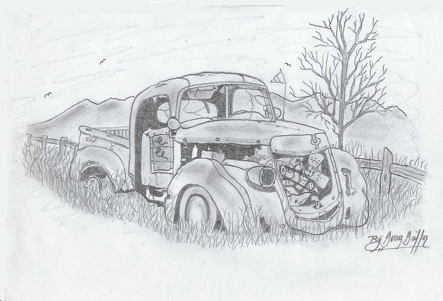 Car Art Drawing -  The Old Truck Lost In Time by Gerald Griffin