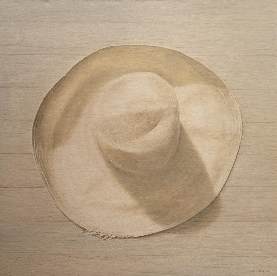 Still Life; Straw Hat; Sun Hat; Clothing; Monochrome Painting -  Travelling Hat On Dusty Table by Lincoln Seligman