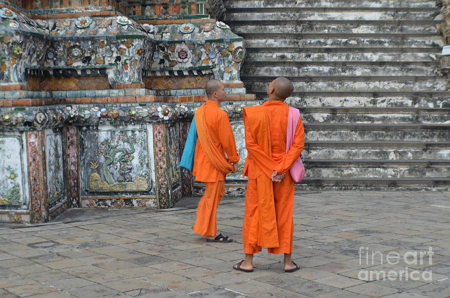 Michelle Meenawong Photograph -  Two Monks by Michelle Meenawong