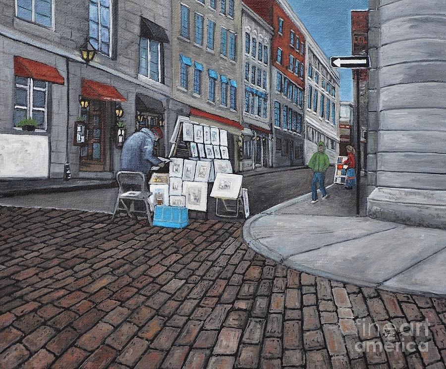Vendeur Sur La Rue Vieux Montreal Painting
