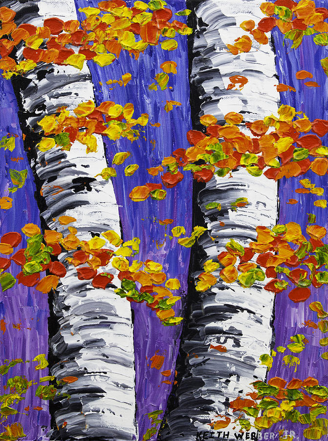 White Birch Trees In Fall On Purple Background Painting is a painting ...
