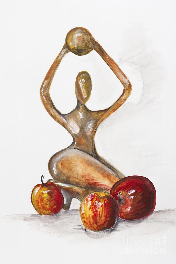 Woman In The African Style  With Red Apples Painting  -  Woman In The African Style  With Red Apples Fine Art Print
