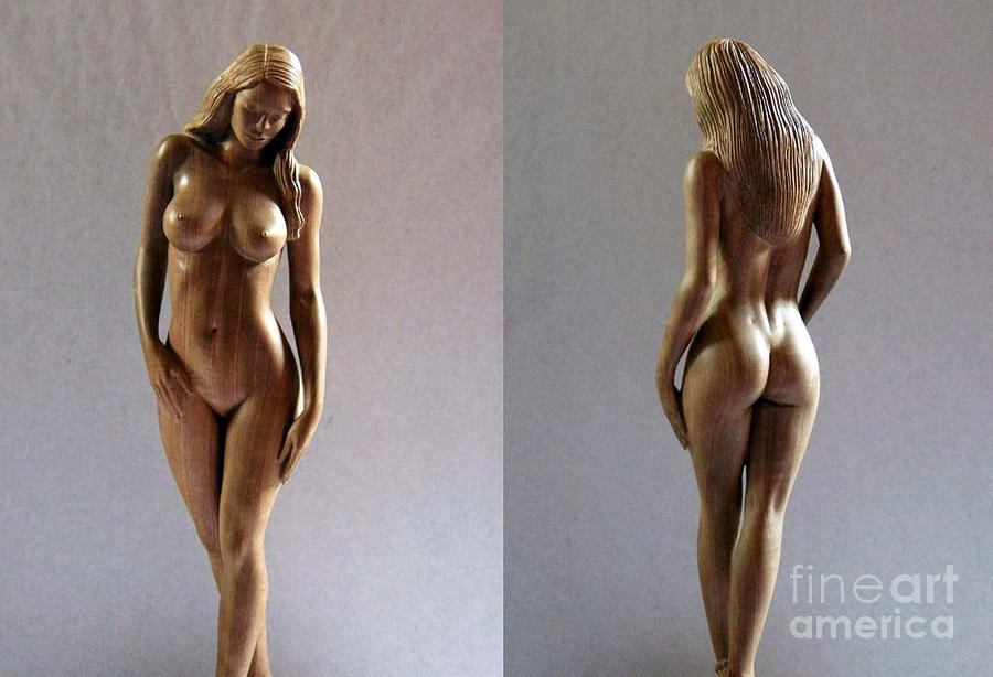 Wood Sculpture Of Naked Woman Sculpture  -  Wood Sculpture Of Naked Woman Fine Art Print