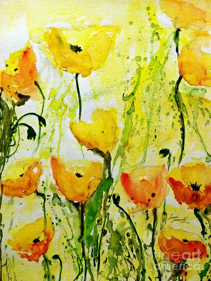 Yellow Poppy 2 - Abstract Floral Painting Painting