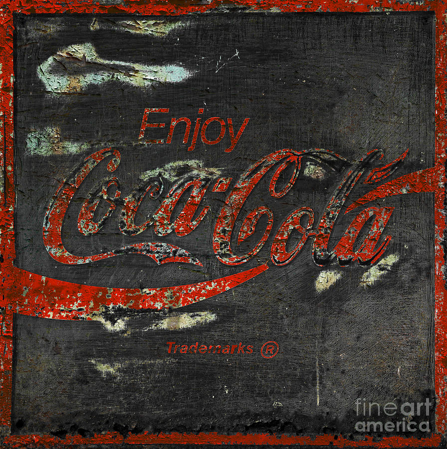 Coca Cola Sign Grungy  Photograph  -  Coca Cola Sign Grungy  Fine Art Print