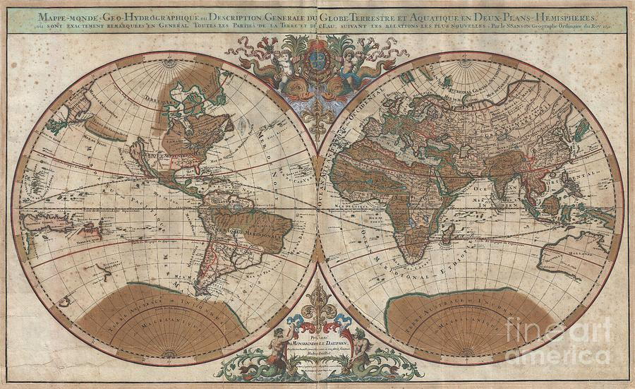 1691 Sanson Map Of The World On Hemisphere Projection Photograph  - 1691 Sanson Map Of The World On Hemisphere Projection Fine Art Print