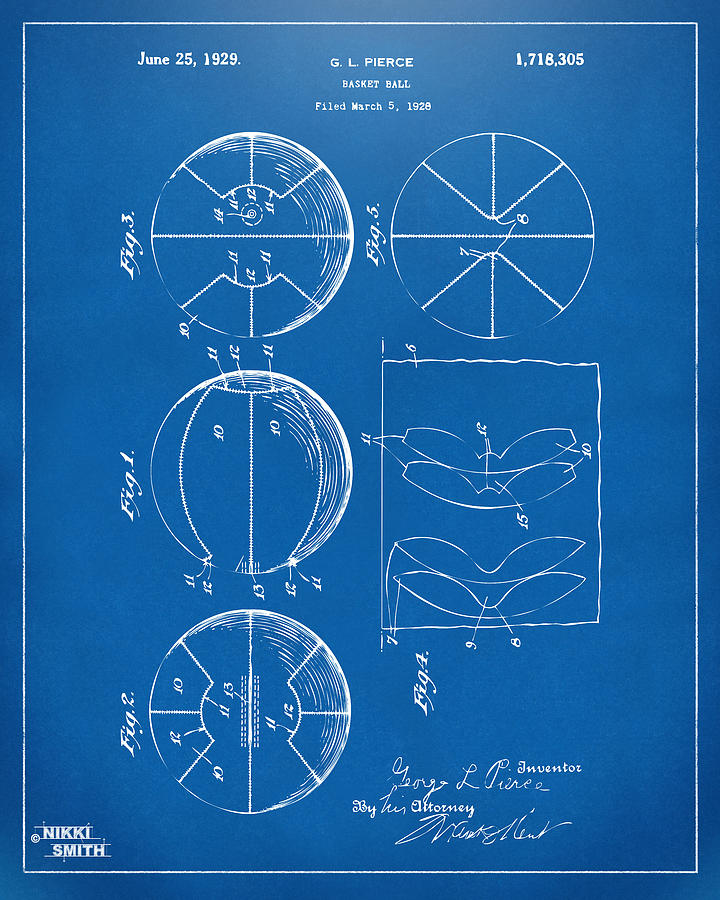 Basketball Drawing - 1929 Basketball Patent Artwork - Blueprint by Nikki Marie Smith