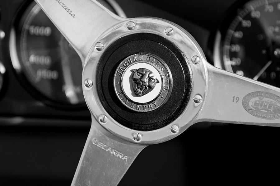 1951 Jaguar Steering Wheel Emblem Photograph  - 1951 Jaguar Steering Wheel Emblem Fine Art Print
