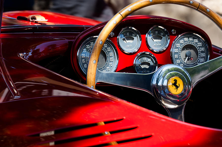 1954 ferrari 500 mondial spyder steering wheel emblem photograph by jill reger. Black Bedroom Furniture Sets. Home Design Ideas