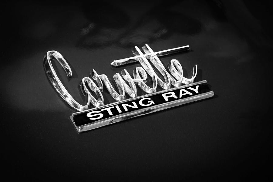 1966 Chevrolet Corvette Coupe Emblem  Bw Photograph