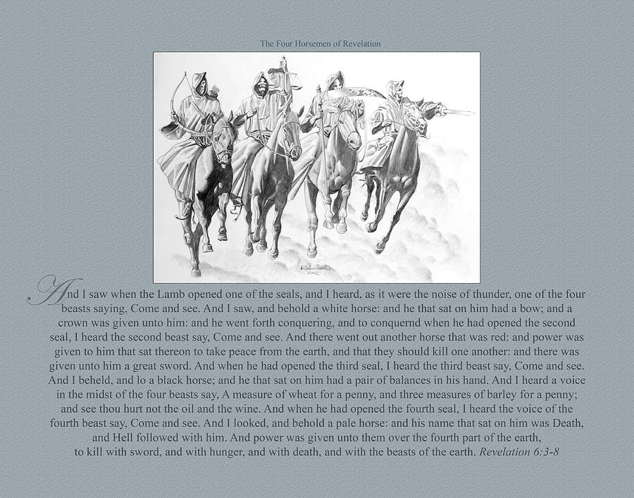200 The Four Horsemen Of Revelation Drawing  - 200 The Four Horsemen Of Revelation Fine Art Print