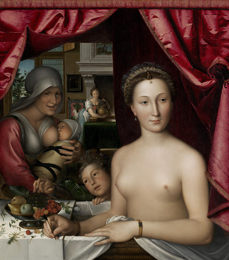 Breastfeeding; Nude; Interior; Bathing; Female; Maid; Interior; Nurse; Nursing; Royal; Society Painting - A Lady In Her Bath by Francois Clouet