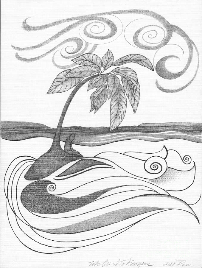 Abstract Art Tropical Black And White Drawing Who Am I To Disagree By Romi Painting