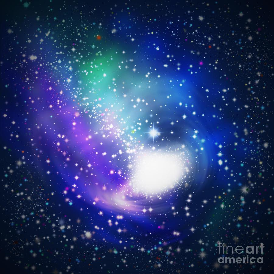 Abstract Digital Art - Abstract Galaxy by Atiketta Sangasaeng
