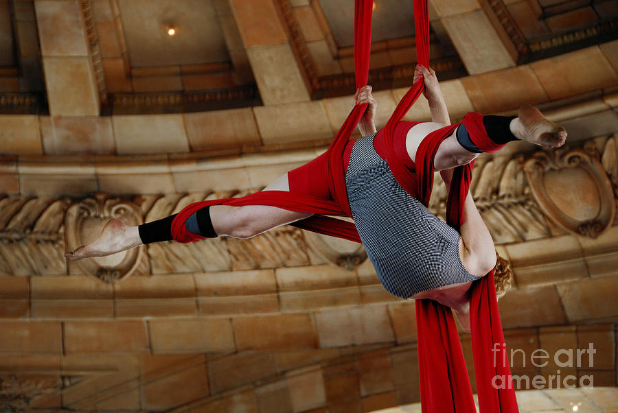 Aerial Ribbon Performer At Pennsylvanian Grand Rotunda Photograph  - Aerial Ribbon Performer At Pennsylvanian Grand Rotunda Fine Art Print