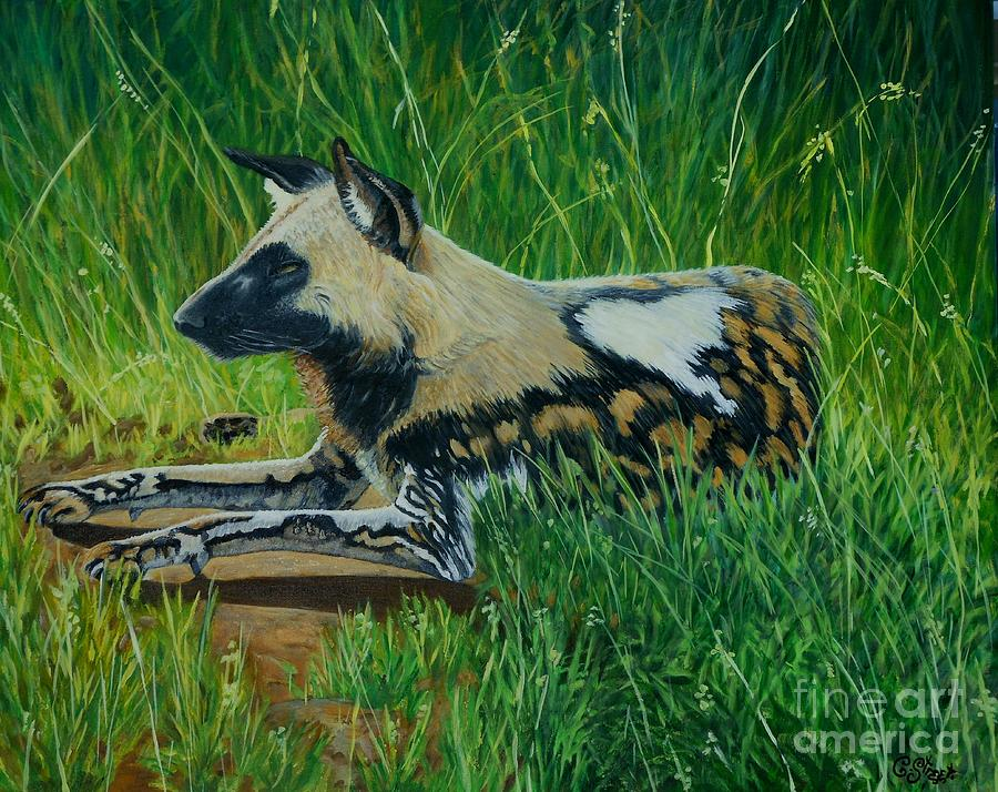 African Wild Dog Painting
