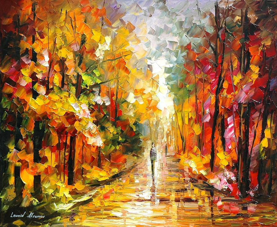Afremov Painting Palette Knife Art Handmade Surreal Abstract Oil Landscape Original Realism Unique Special Life Color Beauty Admiring Light Reflection Piece Renown Authenticity Smooth Certificate Colorful Beauty Perspective Golden Treasure After Rain Painting - After The Rain by Leonid Afremov