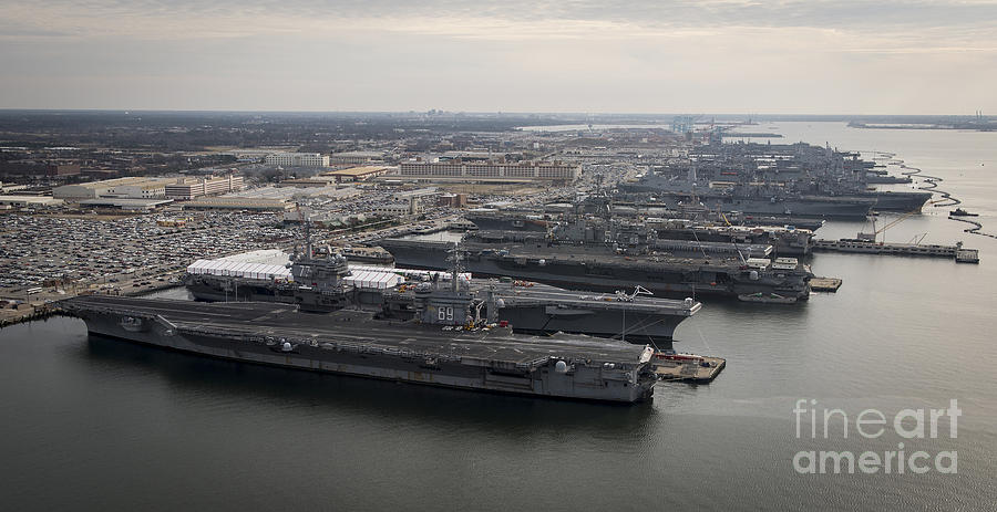 Aircraft Carriers In Port At Naval Photograph  - Aircraft Carriers In Port At Naval Fine Art Print