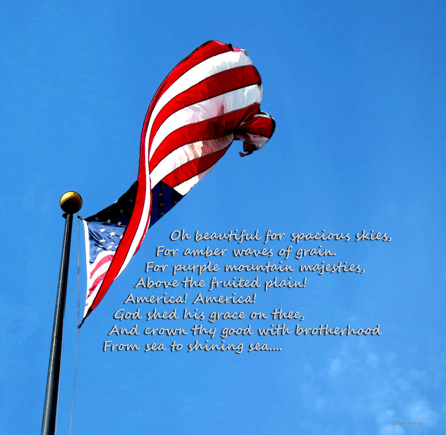 America The Beautiful - Us Flag By Sharon Cummings Song Lyrics Painting  - America The Beautiful - Us Flag By Sharon Cummings Song Lyrics Fine Art Print