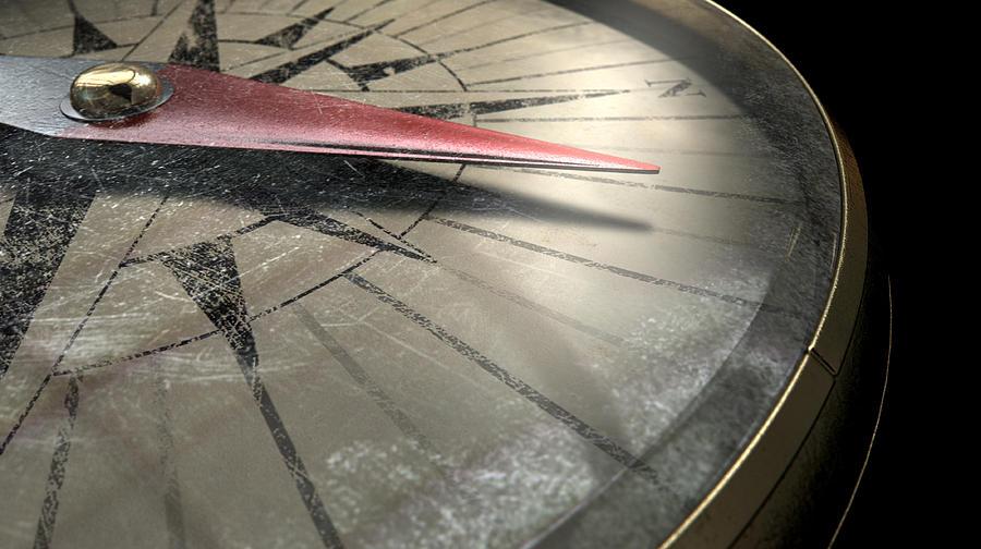 Aged Digital Art - Antique Compass Closeup by Allan Swart