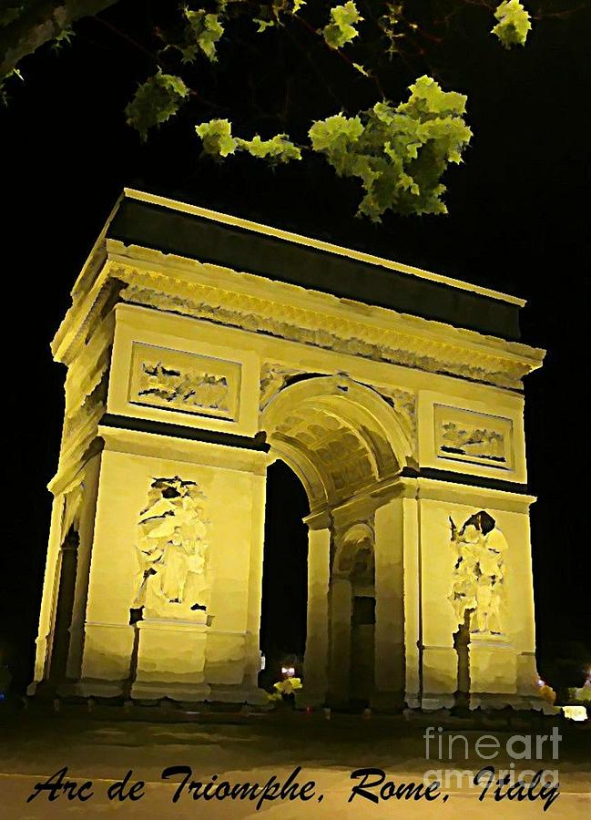 Arc De Triomphe At Night Photograph