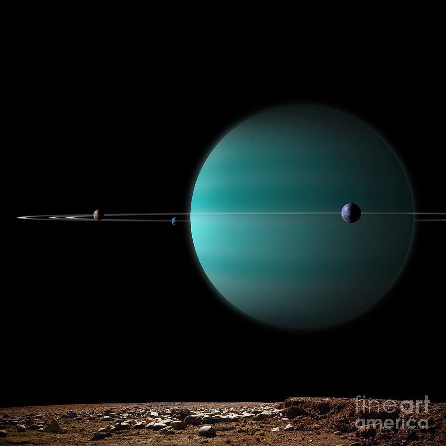 Artists Depiction Of A Ringed Gas Giant Digital Art
