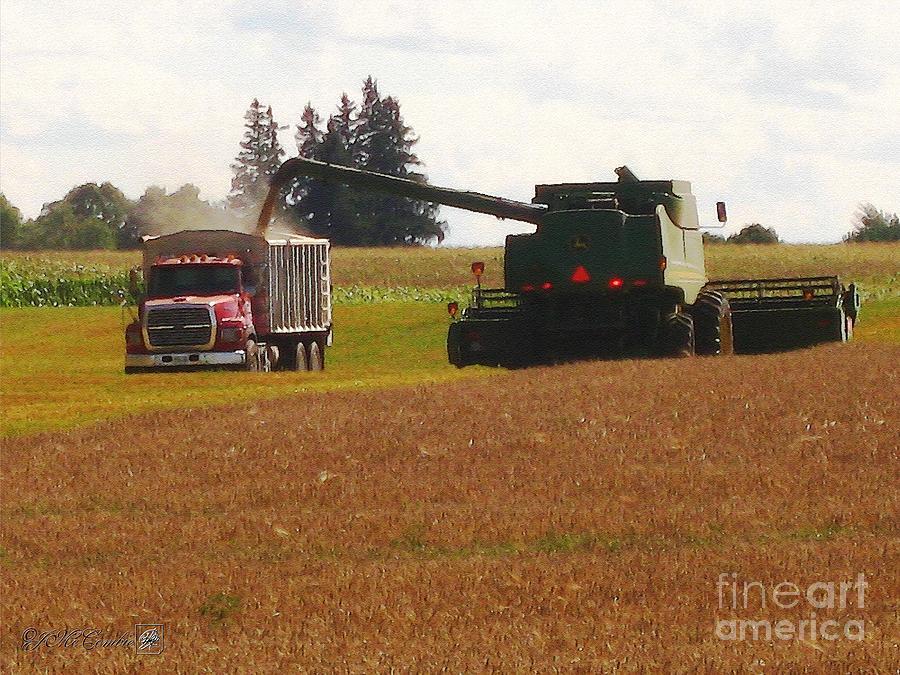 Farm Painting - August Harvest by J McCombie