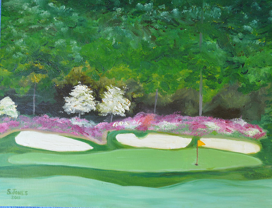 Augusta National Amen Corner Hole 12 Painting By Sally Jones