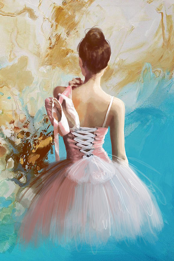 Women Painting - Ballerinas Back by Corporate Art Task Force