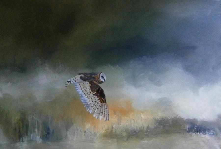 Barn Owl In Flight Painting  - Barn Owl In Flight Fine Art Print