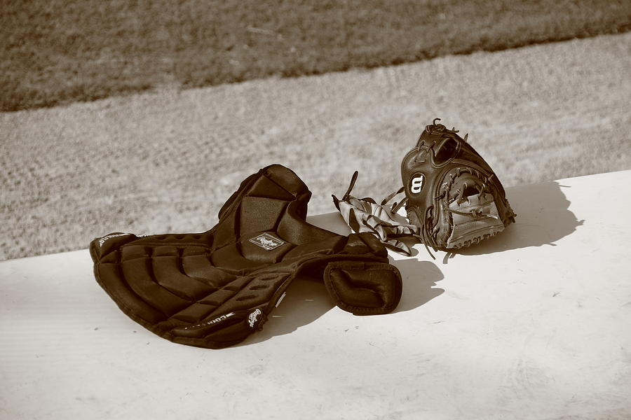 Baseball Glove And Chest Protector Photograph  - Baseball Glove And Chest Protector Fine Art Print
