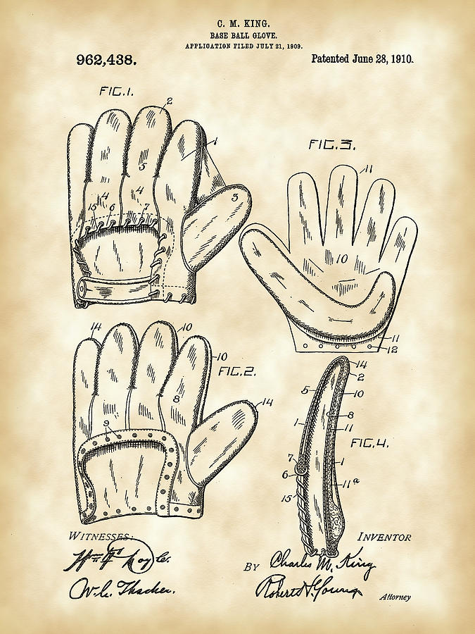 Baseball Glove Patent Digital Art  - Baseball Glove Patent Fine Art Print