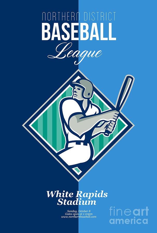 Baseball Hitter Batting Diamond Retro Digital Art
