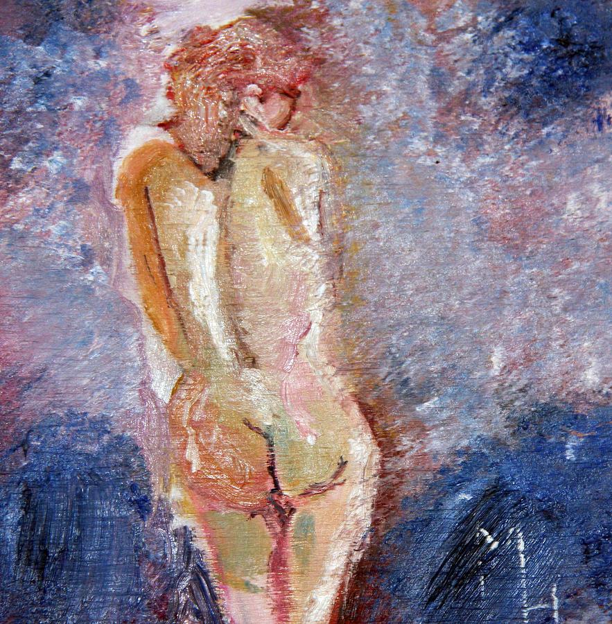 Nude Female Painting - Bashful Nude by Michael Helfen