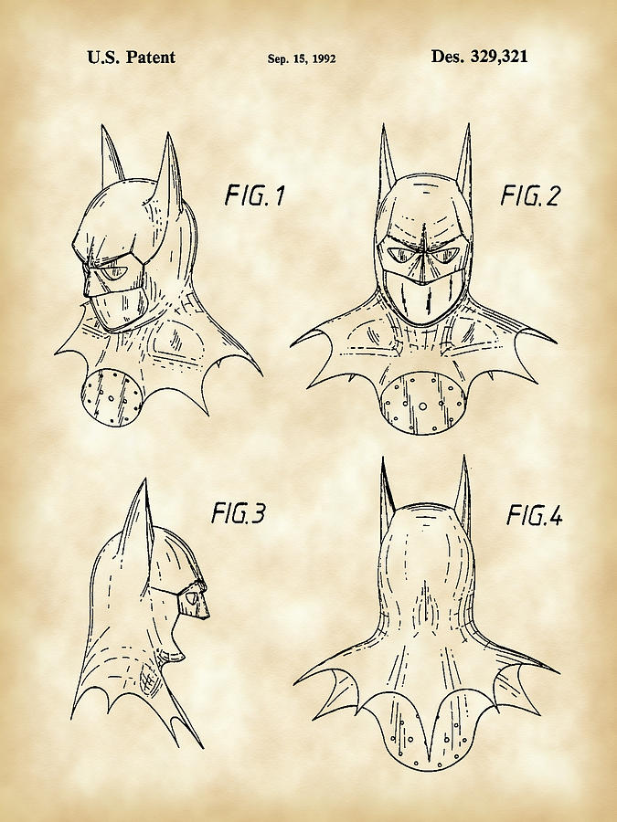 Batman Patent Digital Art  - Batman Patent Fine Art Print