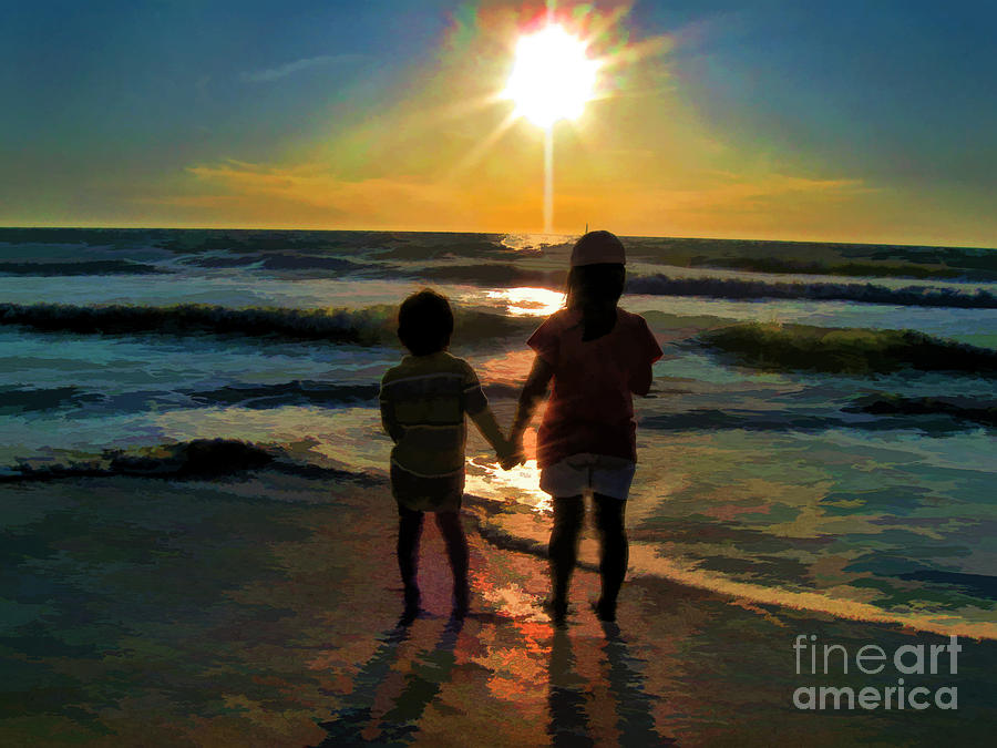 Beach Kids Digital Art  - Beach Kids Fine Art Print