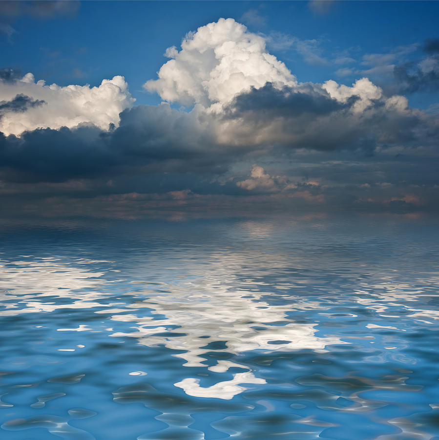 Beautiful Sky Reflected In Calm Sea Waters Photograph by ...