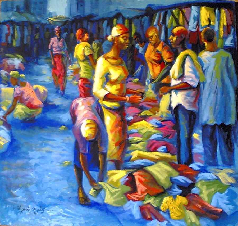 Bend Down Boutique Painting By Ayeola Ayodeji Abiodun Painting - Bend Down Boutique by Ayodeji Ayeola