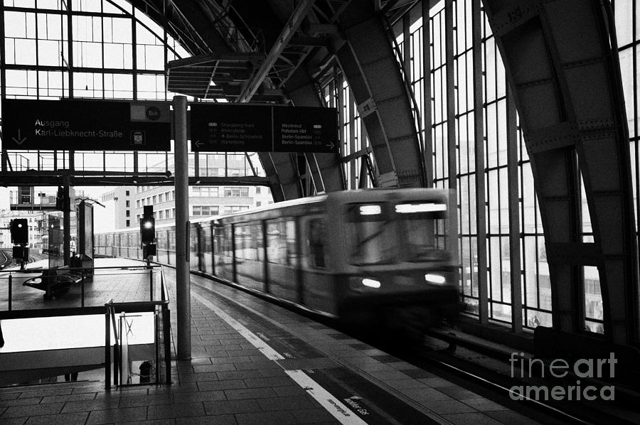 Berlin S-bahn Train Speeds Past Platform At Alexanderplatz Main Train Station Germany Photograph