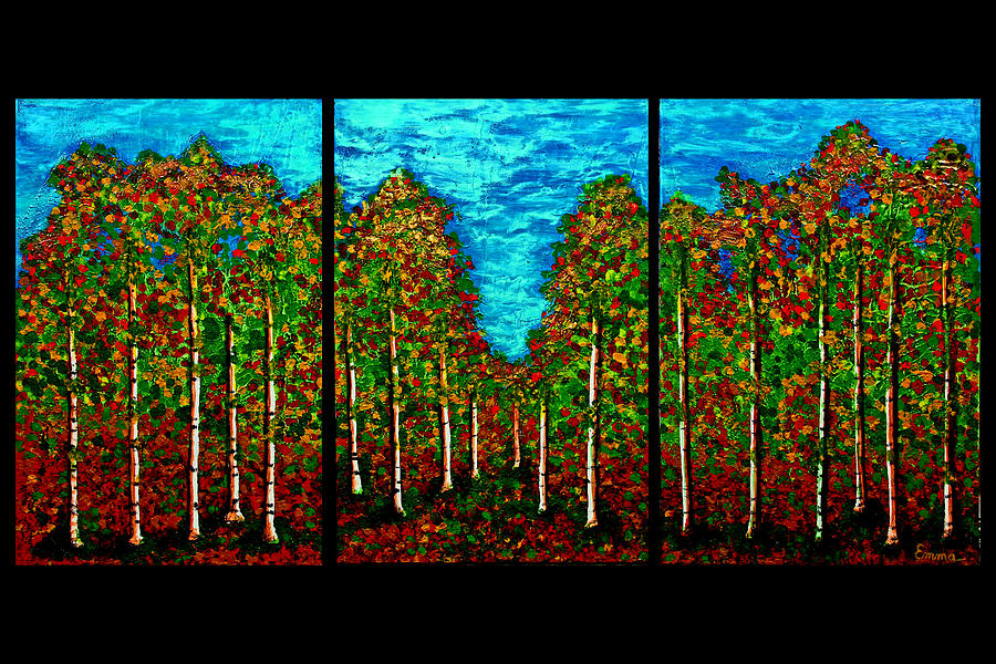 Oil painting modern landscape trees house wall deco gallery painting