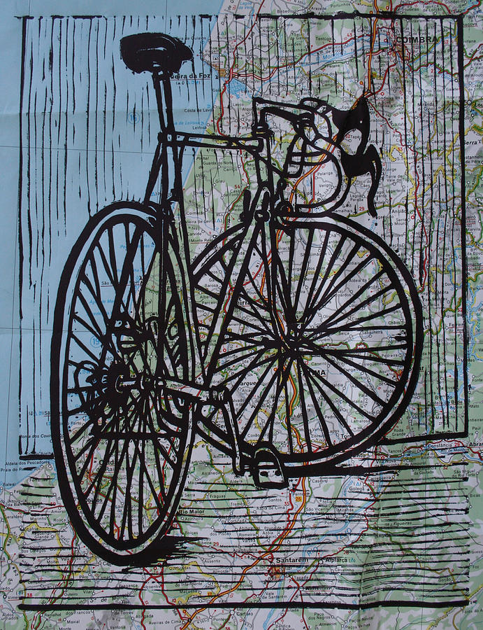 Bike 4 On Map Drawing  - Bike 4 On Map Fine Art Print